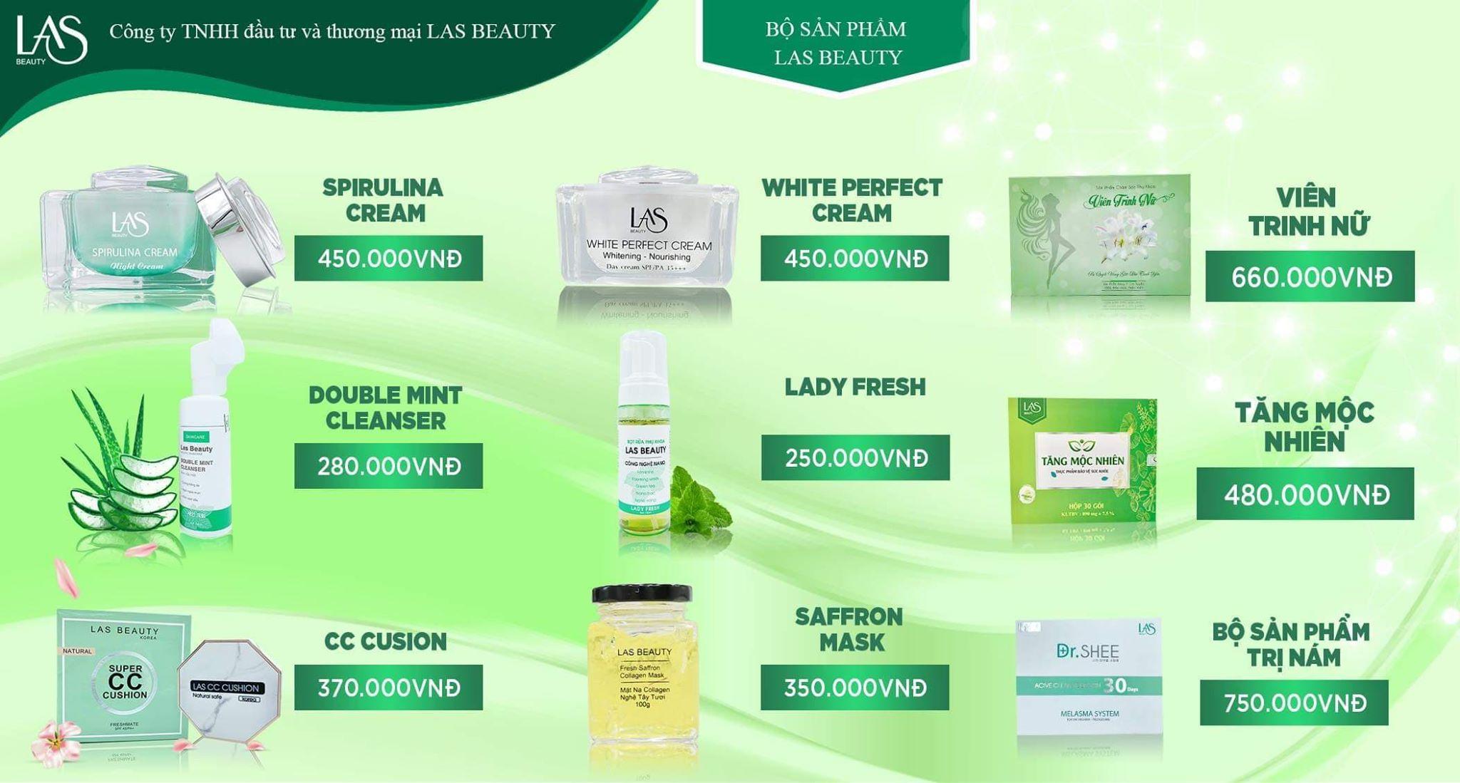 Bảng giá bán lẻ mỹ phẩm Las Beauty